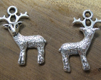 10 Woodland Deer Antique Silver Charms 24mm x 19mm C156