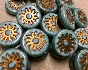 Sun Beads Green Luster with Gold Chunky Coin Carved Czech Pressed Glass Table Cut Beads 1 Bead