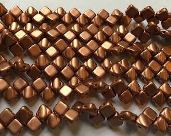 Crystal Bronze Copper Two Hole Silky Czech Pressed Glass 6mm Two Hole Angled Square Beads 40 pcs