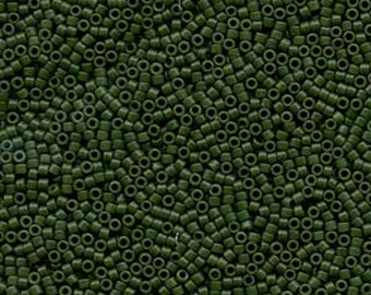 11/0 Miyuki Delica Opaque Matte Dark Forest Green Dyed Opaque Olive Green Glass Seed Beads 7.2 grams DB797