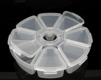 Plastic Adjustable Beads Organizer Container Storage Box Round Clear 1 Piece 8 Compartments)