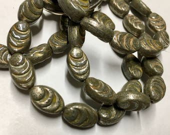 Clearance 12 Carved Green Stone Oval Cocoon Czech Pressed Glass Beads 13mm x 8mm with Mercury-Look Finish