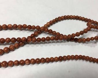 Goldstone Faux Gemstone Glass Beads 4mm 49 Beads Per 8 Inch Strand