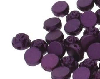 Rosetta Pastel Bordeaux Rosetta 2 Hole Cabochon Czech Glass Beads Domed Rose Beads 6mm 19 grams