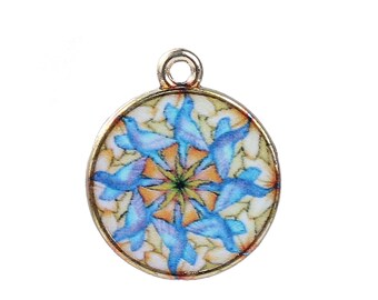 "Transparent Glass Buddhism Mandala Charms Round Multicolor 22mm ( 7/8"") x 18mm ( 3/4"") 2 pcs"