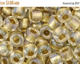 ON SALE 6/0 Crystal Gold Lined Toho Glass Seed Beads 2.5 inch tube 8 grams TR-06-262
