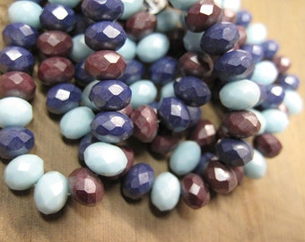 Baby Blue Purple Marsala Czech Pressed Glass Large Faceted Rondells 6mm x 8mm