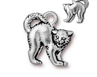 Scary Cat Charm Antique Silver Unearthly Spirit Pendant Charm TierraCast Lead Free Pewter 18mm x 16mm 1 pc F397C