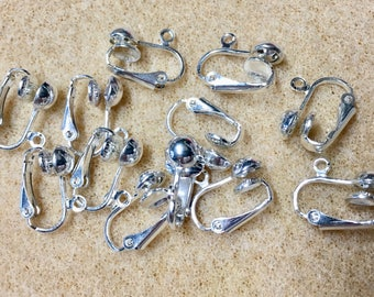 Silver Plated Surgical Steel Clip On Ear Hooks with Loops 6 pairs Made in the USA  F496