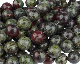 Dragon Blood Jasper 10mm Gemstone Rounds Approx 19 beads 8 Inch strand