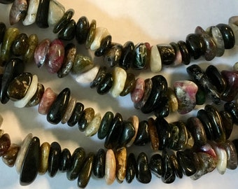 Tourmaline Pebbles Nuggets 8 inch Strand 8mm to 10mm