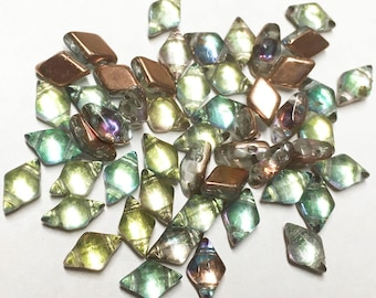 Clearance Diamonduo Prismatic Fiesta Pressed Glass Diamond Duo Two Hole Seed Beads 5x8mm 50 beads