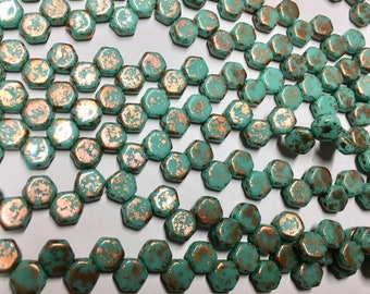 Honeycomb Beads Copper Turquoise Splash Czech Pressed Glass Hexagon Two Hole Beads 6mm 30 beads