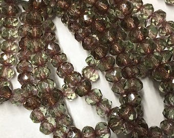Olive Gold and Lavender Transparent Czech Pressed Glass Small Faceted Rondelles with Picasso Finish 3mm x 5mm 30 beads