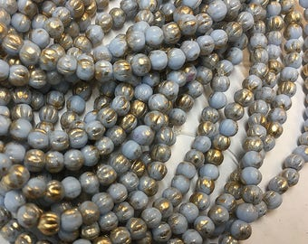 Melon Beads Matte Light Blue with Gold Finish Czech Pressed Glass Round Beads 4mm 50 beads
