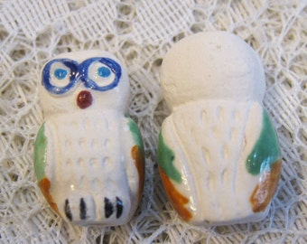Owl White Snowy Peruvian Ceramic Owl Beads 20mm x 14mm 4 beads Last Ones