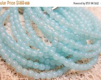 ON SALE 50 Light Aqua Blue Opalite Czech Pressed Glass Small Round Druk Beads 3mm