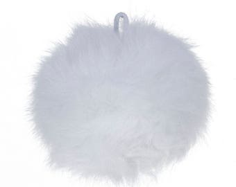 "White Angora Pom Pom with Loop for Craft Projects Hat Decoration Knitting Crochet 80mm (3 1/8"")"
