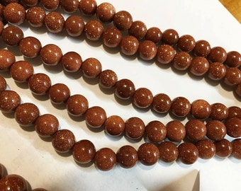 Clearance Goldstone Faux Gemstone Glass Beads 8mm 24 Beads Per 8 Inch Strand Last ones