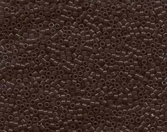 ON SALE 11/0 Miyuki Delica Opaque Chocolate Brown Glass Seed Cylinder Beads 7.2 grams DB0734