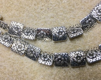 Antique Silver Plated Double Sided Flower Square Beads 10mm 20 beads