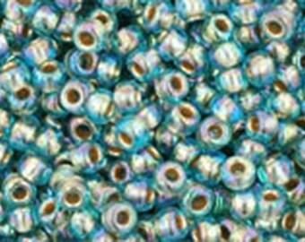 11/0 Gold Lined Rainbow Aqua Toho Glass Seed Beads 2.5 inch tube 8 grams TR-11-995