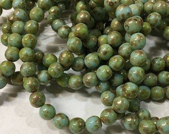 25 Turquoise Mint Picasso Czech Pressed Glass Round Druk Beads 6mm