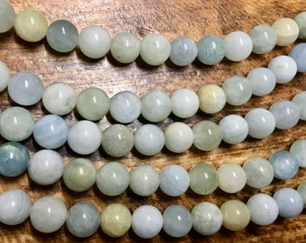 Aquamarine 8mm Multicolor Smooth Round Gemstone Beads with 2mm Large Hole Approx 25 beads per 8 inch strand