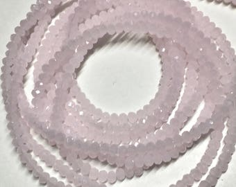 Milky Pale Pink Glass Crystal Rondelles 3x2mm Approx 195 beads