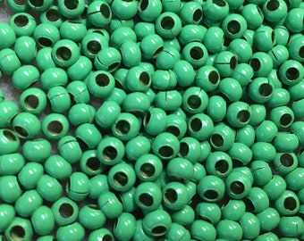 6/0 Bright Green Plated 100% Brass Round Seed Beads Made in the USA Approx 10 grams