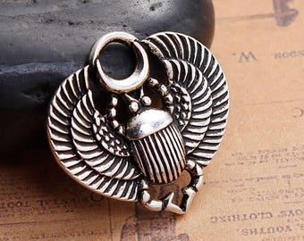 4 Scarab Beetle Egyptian Pendant Charms Antique Silver Scarab Beetle Charm 27x26mm F467
