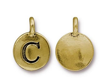 "Letter ""C"" Initial Pendant Tiny Gold Charm TierraCast Antique Gold Alphabet Charms TierraCast Lead Free Pewter 16.5x11.5mm One Charm"