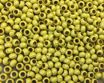 6/0 Dark Yellow Plated 100% Brass Round Seed Beads Made in the USA Approx 10 grams