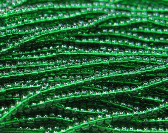 11/0 Transparent Green Czech Glass Seed Beads 19 grams