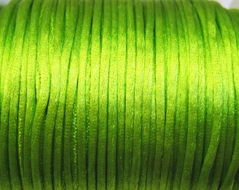 Lime Green Satin Rattail Cord 1mm 6 yards for Macrame Kumihimo Knotting