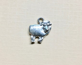 Little Lamb Silver Plated Charm Pendant Sheep Charm 12mm x 12mm Made in the USA One Charm