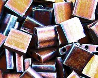 Matte Metallic Copper Miyuki 5mm Square Two Hole Tila Beads 7.2 grams