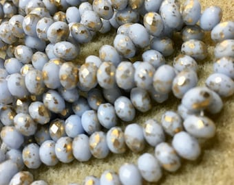 3x5mm Rondelles Periwinkle Blue with Gold Finish 30 beads