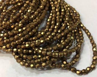 Antique Gold Matte Czech Glass Firepolished Crystal Beads 4mm
