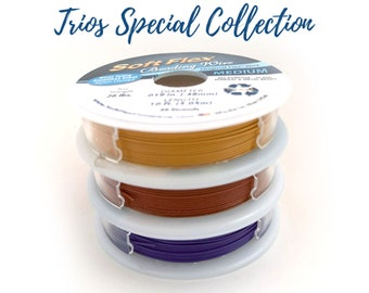 Trios Autumn Spice Special Collection .019 Beading Wire Pack Citrine Red Jasper Purple Amethyst 49 Strand 3 spools 10 Ft each spool