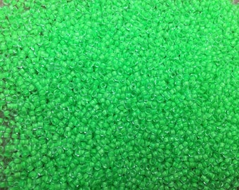 15/0 Frosted Lime Green Japanese Glass Rocaille Seed Beads 6 inch tube 28 grams #F206E