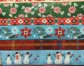 Happy Holidays Designer Ribbon Pack Woven Jacquard Ribbons 100% Polyester 7 yard pack