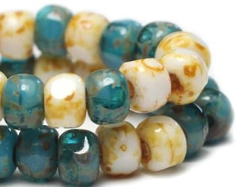 Trica Beads Teal Blue and White with Picasso Finish Czech Pressed Glass Rondelles Beads 4x3mm 50 beads