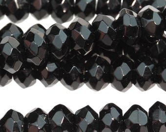 Black Onyx 8mm Faceted Gemstone Rondelle Beads Approx 32 beads 8 Inch strand
