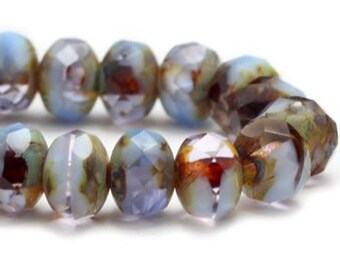 3x5mm Rondelle Periwinkle and Grape with Picasso Finish Czech Pressed Glass Beads 30 beads