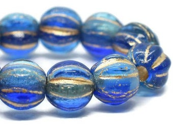 6mm Melon Beads Sapphire and Sky Blue with Gold Wash   Czech Pressed Glass Round Large Hole Beads 6mm 25 beads