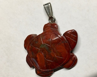Red Jasper Gemstone Turtle Pendant with Bail Double Sided 42x35mm 1 pendant