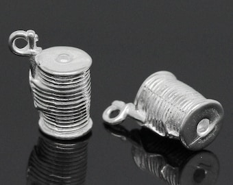 Spool of Thread Charms Pendants Double Sided Sewing Charm Quilting Charm Silver Plated 14mm x 11mm 4 pcs C171
