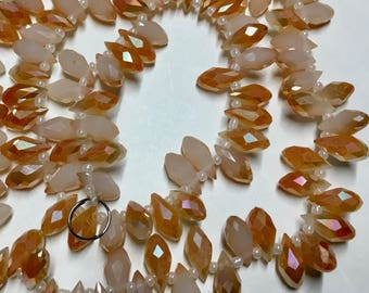10 Opaque Apricot AB and White Faceted Transparent Crystal Briolette Drop Teardrop Beads 6x12mm 10 pcs