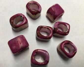 Ceramic Slider Fuchsia Spacer Beads Large Hole Oval Glossy Finish 15x15x8mm 2 pcs